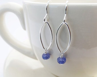 Silver & Tanzanite Drop Earrings - Sterling Silver