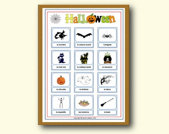 HALLOWEEN,French School Poster,Learn French Words,ClassroomDecor,Download Printable,Teachers Resource,Homeschool Learning,Language