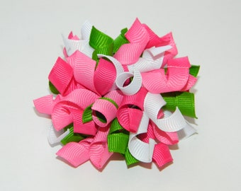 Pink, White & Apple Green Korker Hair Bow