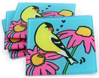 Goldfinch Tempered Glass Coasters