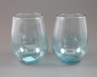 Hand blown feathered pint glass - Hand blown stemless wine glasses ...