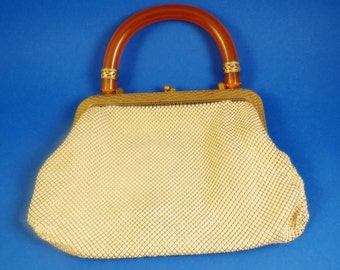 Vintage Whiting & Davis Mesh Purse Bag Tortoise Shell Handle Excellent Kiss Lock
