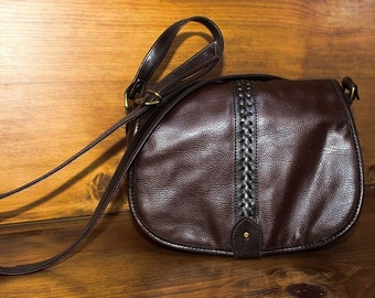 Vintage Liz Claiborne Western Boho Shoulder Bag Purse Brown Lacing Crossbody Brown