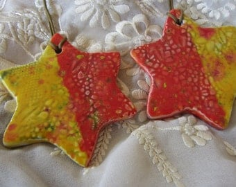Two Chanukah Star of David Yellow and Red Ornaments Ceramic Tiles