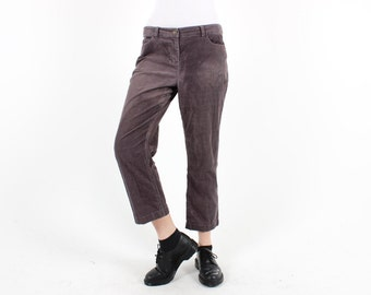 Grungy 90s CORDUROY Cord Faded Distressed Worn In Black Mom Jeans / Pants / Trousers