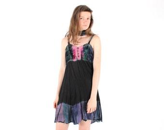 SALE - 90s Tie Dye Crushed Velvet Black Gauze Spaghetti Strap Cami / Slip Festival Free Size Floaty Grunge Dress