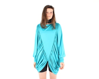 70s Studio 54 Glam Disco Draped Bubble Sleeve / Batwing Dolman Wing Slv Teal Mini Dress / Top