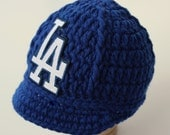 Dodgers Baby Hat - Cap - Los Angeles Dodgers - Baby Gift / Newborn -  Baseball Photo Prop - MLB - Knitted / Crochet