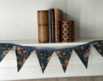 SALE: Brown and Blue Floral Banner // Brown and Blue Floral Fabric Bunting Banner //   Brown and Blue Floral Fabric Pennant Banner. Banner