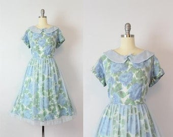 vintage 50s dress / 1950s floral party dress / blue green floral dress / sheer chiffon overlay dress / Morning Mist dress