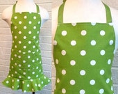 Child's Green Dot Apron with Pocket and Ruffle - Can be Personalized, Green and White, Free Shipping, Made in The USA