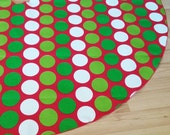 Red Green Dot Christmas Tree Skirt - Red, Green, Lime Green, White, FREE Shipping, Made in USA, Holiday Decor