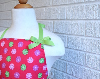 Girl's Ruffled Apron with Bow - Pink and Green, Can be Personalized, Free Shipping, Made in The USA