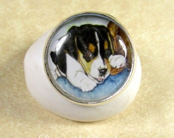 Beagle Ring - Beagle Puppy Adjustable Ring, Beagle Jewelry, Beagle Accessories