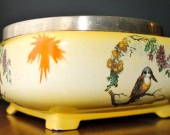 L  Sons Ltd Hanley England Porcelain & Silver Flower Pot Victorian Planter Vintage Home Decor Retro Home Living Yellow Vase Birds Flowers