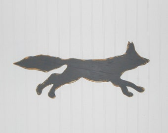 Fox Silhouette Sign Rustic Log Cabin Wall Decor Country Home Decor