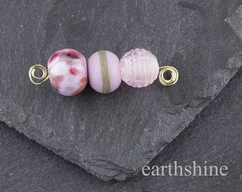 Mini lampwork bead set, pink and blue