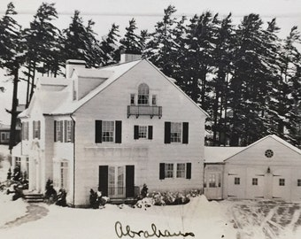 Original Antique Photograph Abraham House in Winter