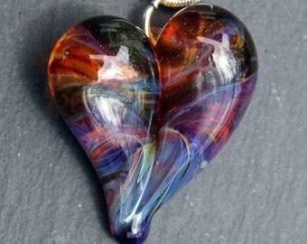 Heart Necklace Glass Jewelry, Flamework Pendant Lampwork Boro, Hand blown Amber Purple Green Heart Pendant
