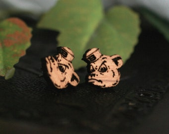 Sailor Bear Baylor Stud Earrings | Laser Engraved Wood