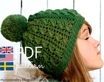 Crochet Hat Pattern - Wilma's Cable Hat - US, UK and Swedish terms - PDF file