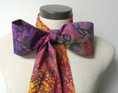 Upcycled Steampunk Clothing, Mad Hatter Bow Tie - Alice in Wonderland (Hot Pink, Purple, Navy, Gold Batik Print) Neck Tie, Handmade Bow Tie