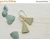 25% OFF - Gold Triangle Earrings Dangle Earrings Antique Floral Vintage Inspired 16k Gold  T103