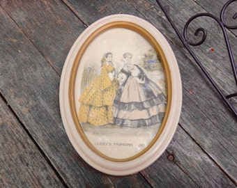 Godeys Fashions 1853, Victorian Art, Oval Frame, 1850s Advertising, Oval Framed Art, Colorized Art, Line Drawing, Yellow, Fashionista