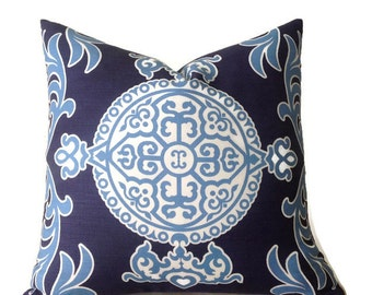 Thibaut Pillow, Navy Blue Medallion Pillow, Blue Lumbar Pillow, Home Decor Pillow Decorative Throw  Pillow Cover