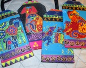 Custom Luggage Tag Laurel Burch Dogs and Doggies Designer Fabric  Travel Cruise Accessory Kids ID Backpack Gift Card Holder Puppy Dog Lover