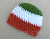 Irish Baby Hat, Newborn Hat, Irish Flag, St. Patrick's Day Baby Beanie