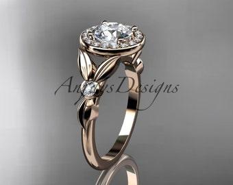 14kt rose gold diamond floral wedding ring, engagement ring ADLR129