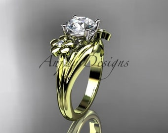 14kt yellow gold diamond leaf and vine wedding ring,engagement ring ADLR159