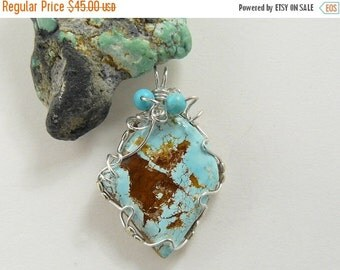Natural Turquoise Designer Cabochon Wire Wrapped in Argentium silver wire (w1561)
