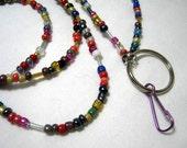 Bugle Seed Beads ID Identity Badge Holder Necklace Lanyard Chain