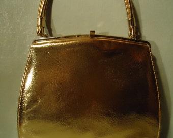 Vintage 1960s Mid Century Gold Handbag Tote Purse