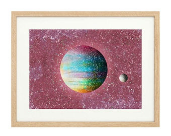 The Painted Planet - with Moon - Extra Large - Limited Edition Print