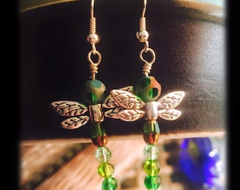 Green Dragonfly Beaded Earrings