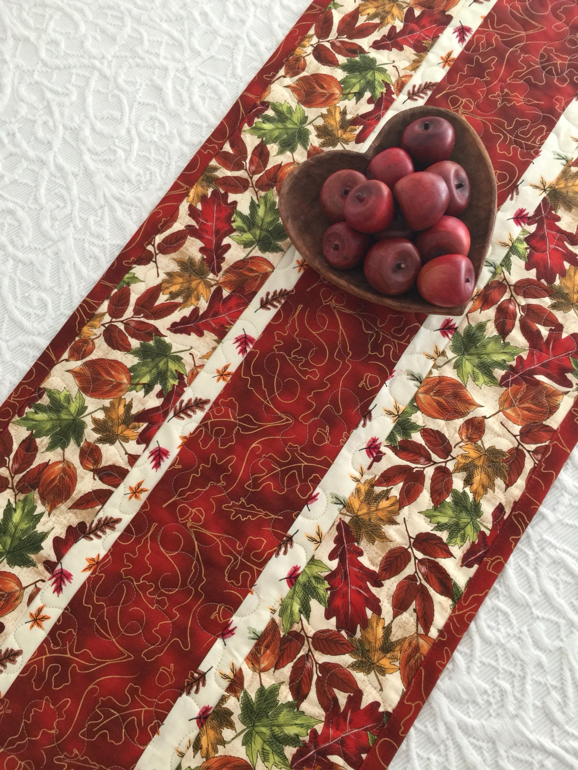 Fall autumn leaves table runner quilt red green by keriquilts for Table runner quilt design