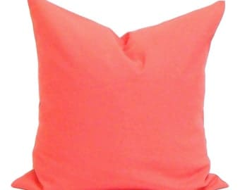 Solid CORAL Pillows, Coral Pillow Cover, Decorative Pillow, 14x14, 16x16, 18x18, 22x22, 24x24, 26x26 and more-ALL SIZES, Euro, Coral Cushion