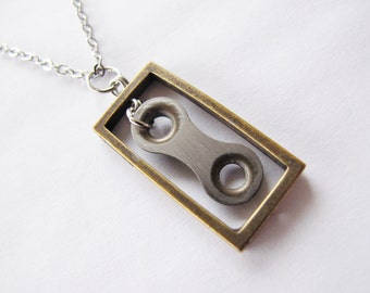 Bicycle Chain Link Necklace - Antique Brass Rectangle - Recycled Jewelry - handmade - bike