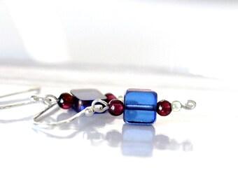 tiny sky blue square beaded earrings w/ garnets & peridots   tiny blue earrings   cobalt blue bead earrings   handmade jewelry by girlthree