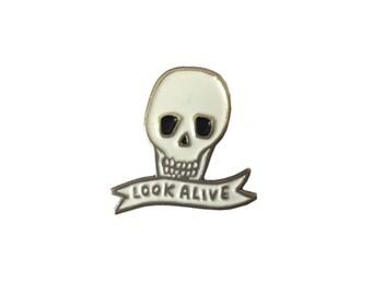 Look Alive Soft Enamel Skull Pin Badge