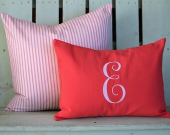 Set of 2 coral striped print, monogram-dorm room-college gift-holiday gift- decorative pillow cover-gifts under 40-throw pillow