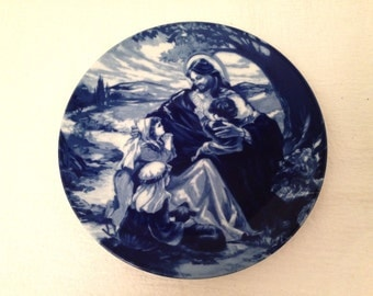 Vintage 1992 Avon Collector Plate BLESS The LITTLE CHILDREN Flow Blue Style Transferware