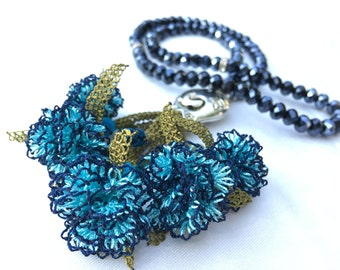 Necklace Handmade Dark Blue Color Needle Lace, Also Special Design Tesbih, Tasbih, Tespih for Prayers N11