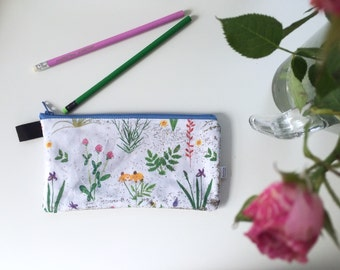 Sparkly Botanical Divided Pencil Case (handmade philosophy's pattern)