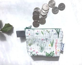 Botanical divided Mini Flat Bottom Pouch / Coin Purse (handmade philosophy's pattern)