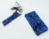 Blue and Black Paisley Key Fob, Makeup Case and Tissue Holder