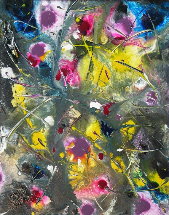 Original Abstract Painting Colorful Wall Art Flowers Painting Original Painting Palette Knife Contemporary Wall Decor